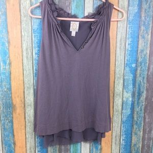 Anthropologie Ric Rac Brown Layered Tank Top